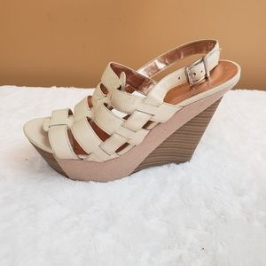 BCBGeneration  leather upper platform wedge